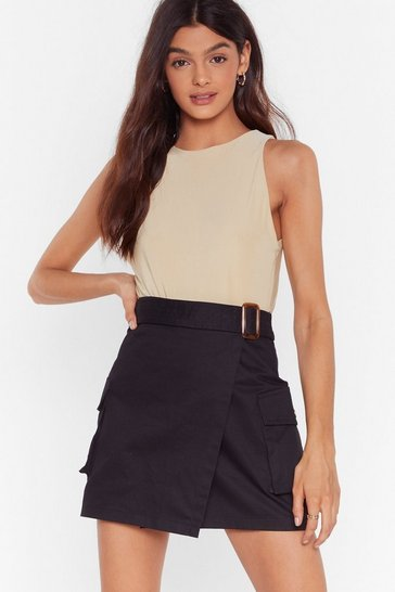 Black Belted Utility Mini Skirt