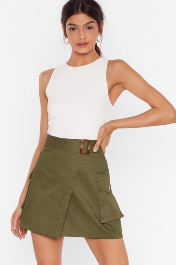 Khaki Work For It Utility Mini Skirt