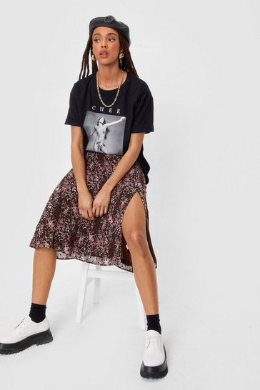 Black Floral and Polka Dot Sli Midi Skirt