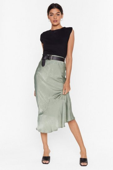 Sage Waiting On the Sleek-end Satin Midi Skirt