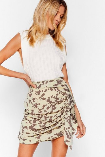 Sage Cow Print Ruched Ruffle Mini Skirt