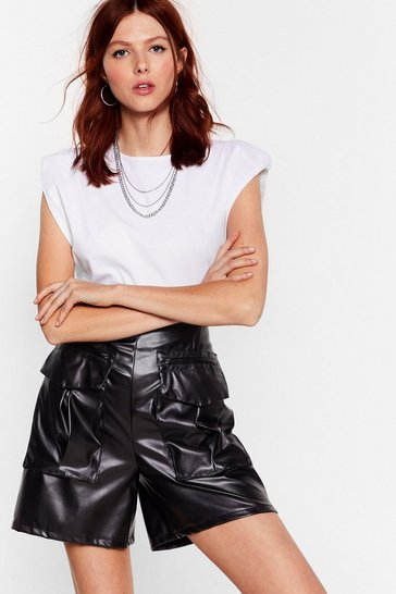 Black Faux Leather Work High-Waisted Utility Shorts