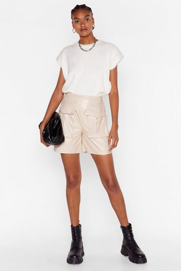 Ecru Faux Leather Work High-Waisted Utility Shorts
