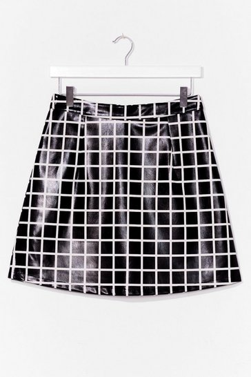 Black Moment of Houndstooth High-Waisted Mini Skirt