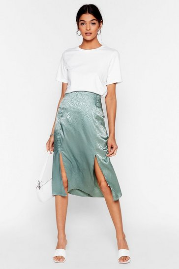 Sage Sleek a Little Louder Jacquard Midi Skirt