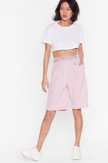 Pink Longline No See High-Waisted Tailored Shorts