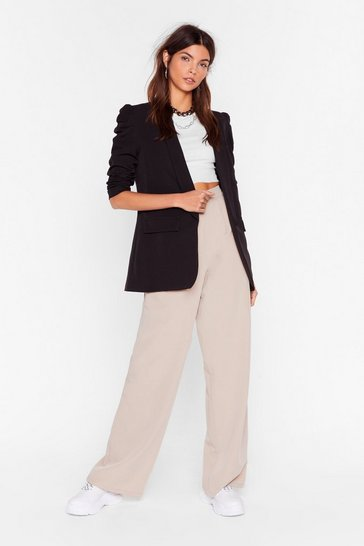 Black With All Your Power Puff Shoulder Blazer