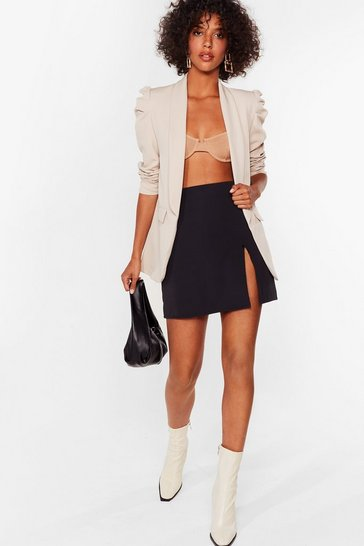 Womens Cream With All Your Power Puff Shoulder Blazer