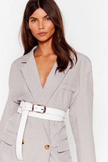 White Wrap Away Faux Leather Waist Belt