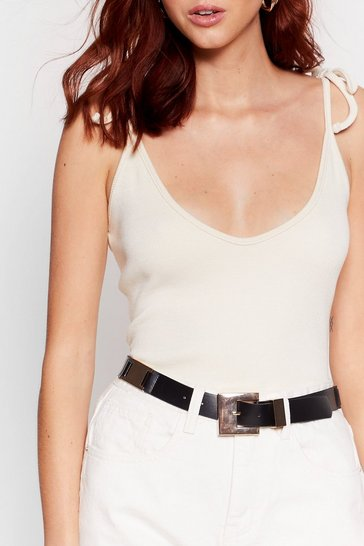 Gold It's Not Square Faux Leather Buckle Belt