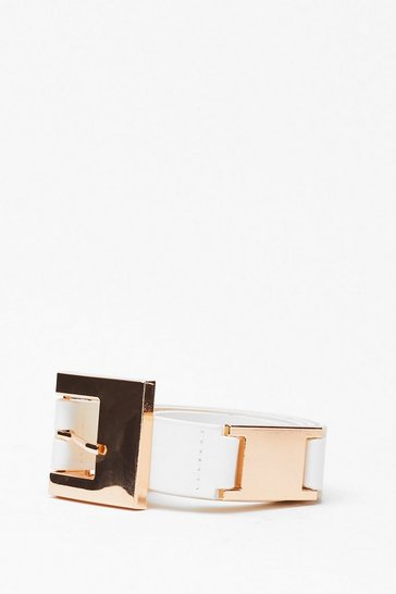 White It's Not Square Faux Leather Buckle Belt