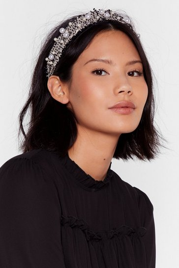 Black Woven You Wrong Pearl Embellished Headband