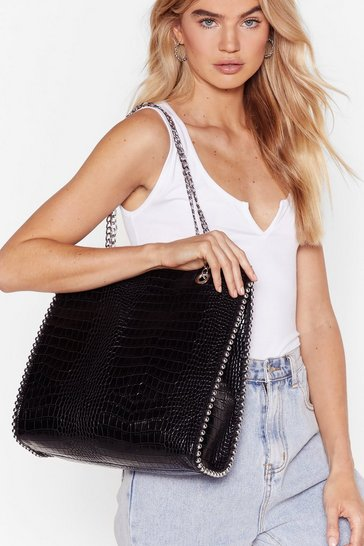 Black WANT Croc Look and Listen Faux Leather Bag