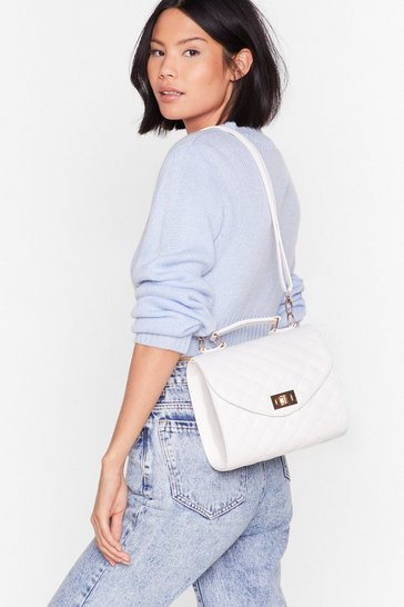 White WANT I'm Quilt-y Lock Crossbody Bag