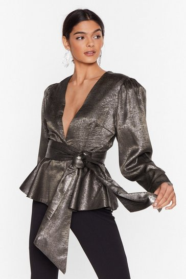 Pewter The World On Your Shoulders Metallic Blouse