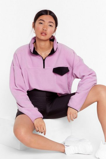 Purple Pocket Outta the Park Relaxed Contrast Sweatshirt