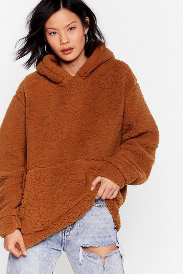 Rust Shearling Not Oversized Pullover Hoodie