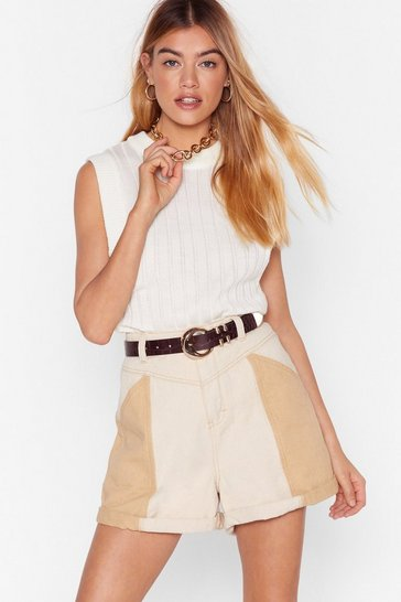 Ecru Two Way Street High-Waisted Denim Shorts