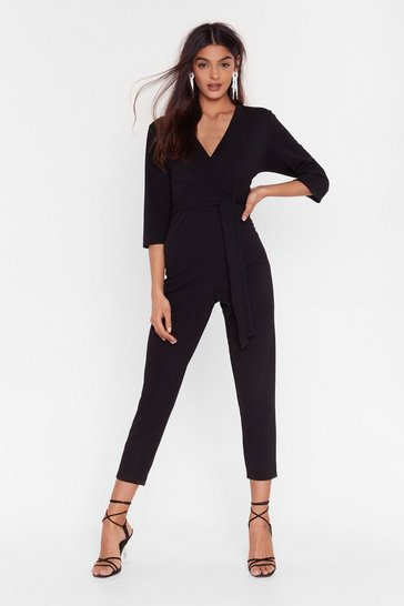 Black Can't Tell You Tie Wrap Jumpsuit