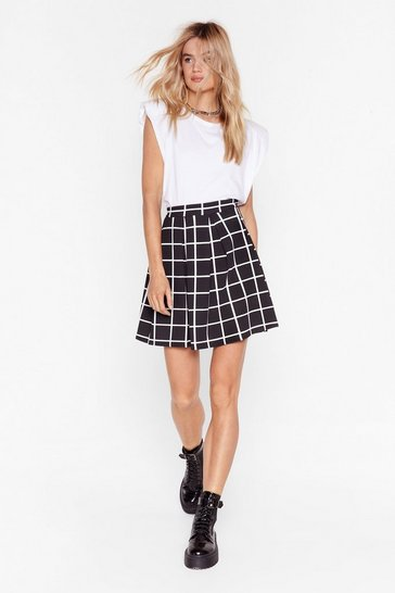 Black Ticks All the Right Boxes Check Mini Skirt