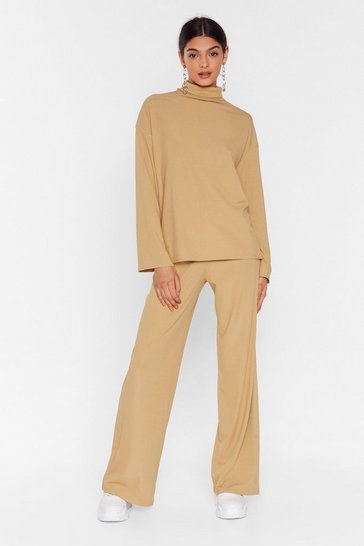 Camel One Heck of a Night Top and Wide-Leg Pants Set