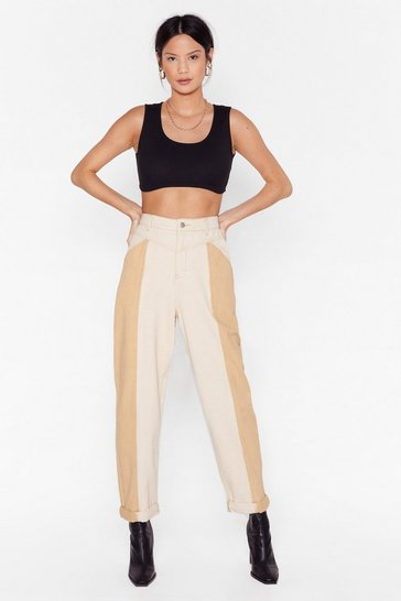 Ecru Two Way Street High-Waisted Mom Jeans