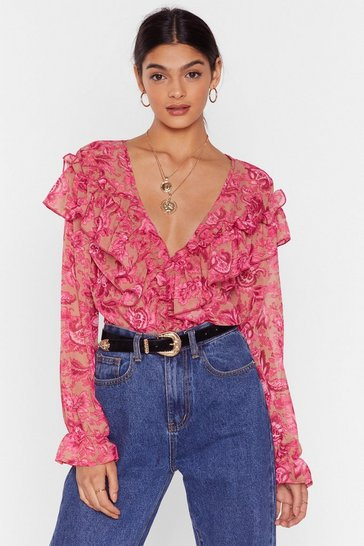 Pink Cause a Stir Floral Ruffle Blouse