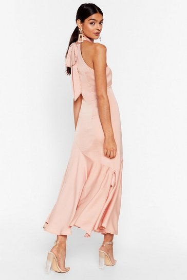 Apricot Glow With It Satin Maxi Dress