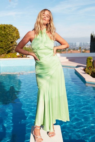 Mint Glow With It Satin Maxi Dress