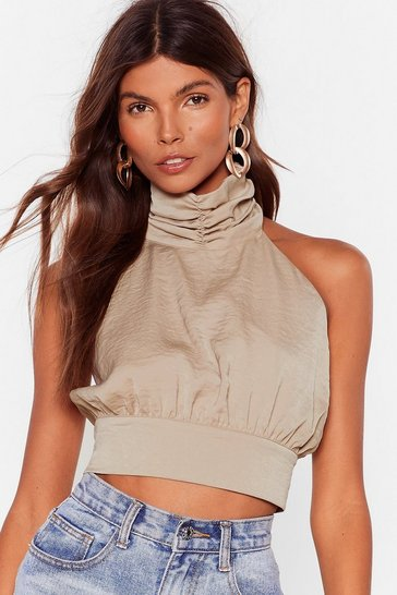 Almond You Never Halter Satin Crop Top