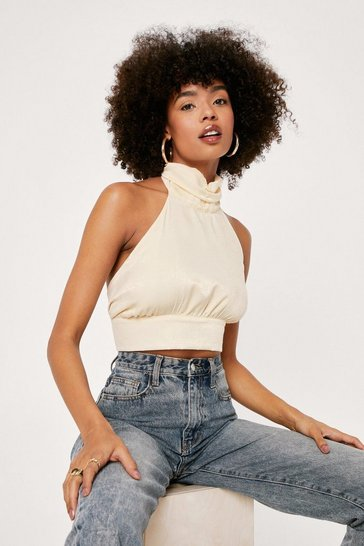 Crop top dos nu en satin Viva la diva, Lemon