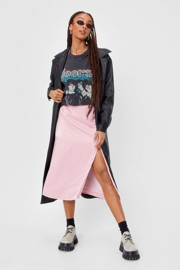 Baby pink Don't Take Any Slit Satin Midi Skirt