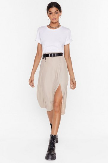 Almond We Don't Give a Slit Satin Midi Skirt