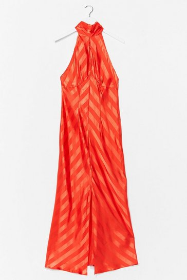 Orange  Satin Jacquard Keyhole Midaxi Dress