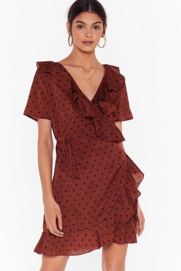 Rust In For the Frill Polka Dot Wrap Dress
