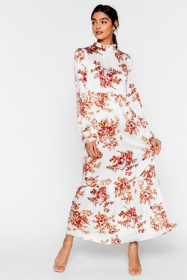 White On a High Neck Floral Maxi Dress