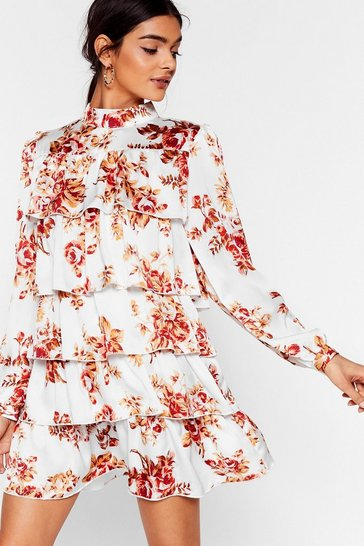 White On a High Neck Floral Mini Dress
