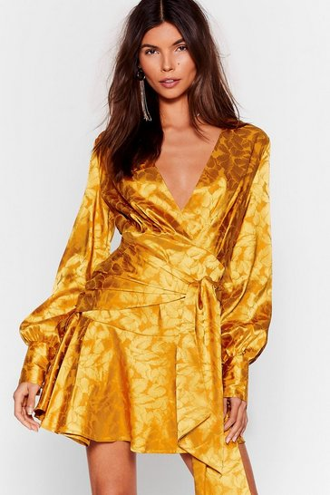 Mustard Sleek It Real Jacquard Mini Dress