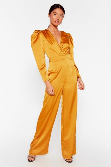 Mustard Waitin' For Our Entrance Satin V-Neck Jumpsuit