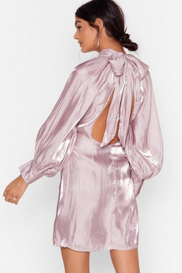 Lilac Glass Half Full Tie Back Mini Dress