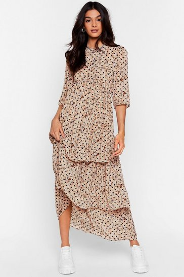 Cream  Call the Spots Tiered Maxi Dress