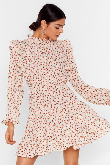 Cream Steal the Grow Floral Mini Dress