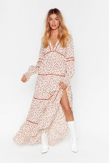 Cream Plant You See Floral Maxi Dress
