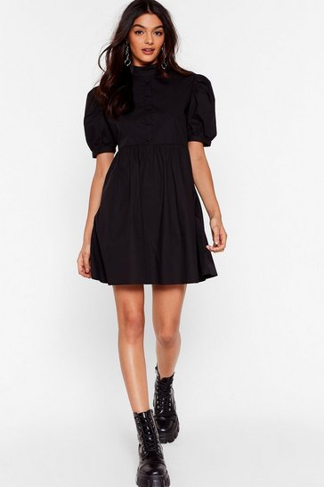 Black Puff-er Than the Rest High Neck Mini Dress