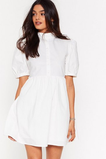 Off white Puff-er Than the Rest High Neck Mini Dress