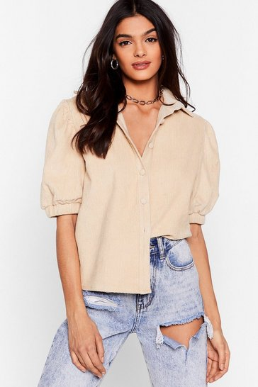 Ecru Cord-uroy to Tears Puff Sleeve Shirt
