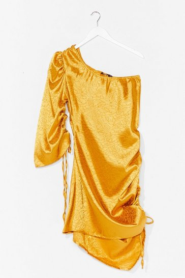 Gold No Jacquard Feelings One Shoulder Mini Dress