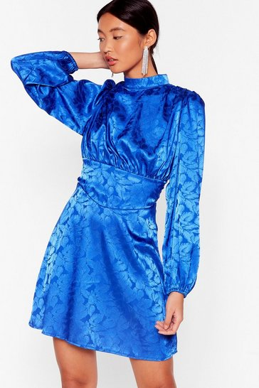 Blue Where Shall We Grow Jacquard Mini Dress