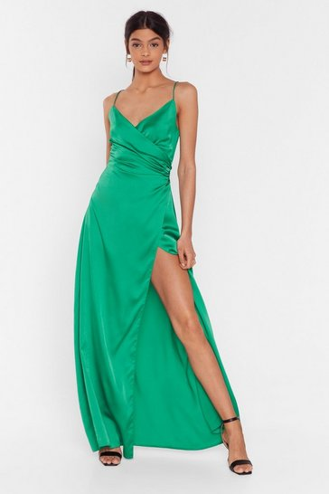 Bright green When the Moon's Out Satin Maxi Dress