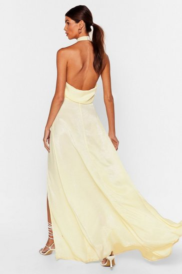 Lemon Cowl It a Night Satin Maxi Dress